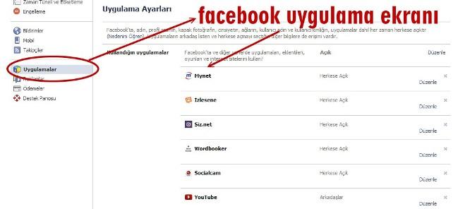 facebook uygulamalar menusu