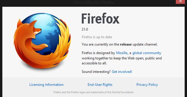 Firefox 21 İndirilmeye Hazır