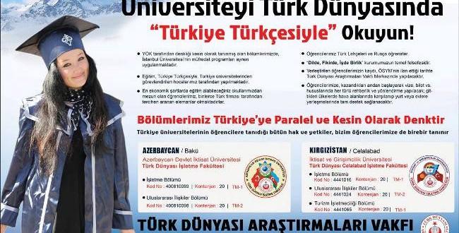 Üniversiteyi Türk Dünyasında Türkiye Türkçesiyle Okuyun