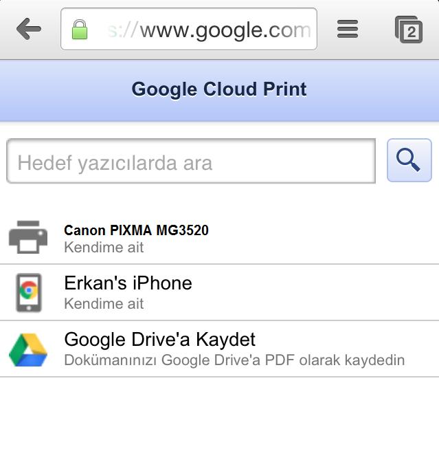 google cloud print yazdir