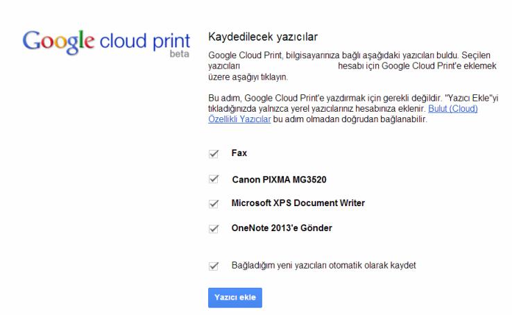 google cloud print yazici kaydet
