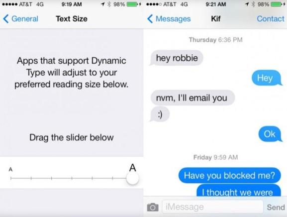 iOS 7 mesaj uygulamasi