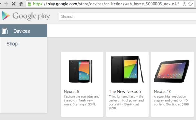 nexus 5 google play sitesinde